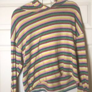 A rainbow sweater with hood from Poof New York